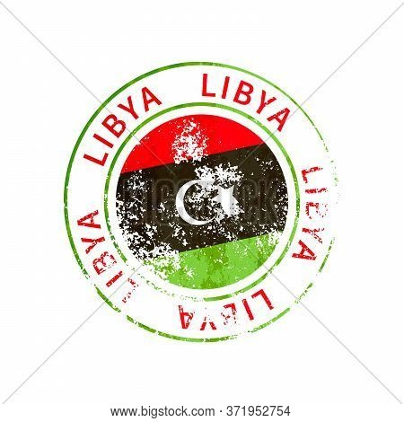 Libya Sign, Vintage Grunge Imprint With Flag On White