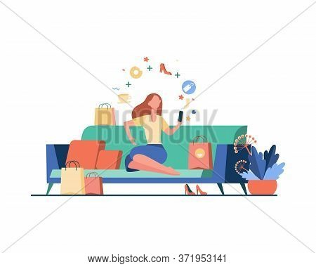 Young Woman With Smartphone Choosing Goods Isolated Flat Vector Illustration. Cartoon Girl Ordering