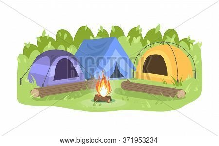 Day Camp Semi Flat Vector Illustration. Opposing Tents Near Bonfire. Camping Outdoors During Daytime