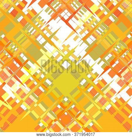 Colorful Abstract Background From Curly Fragments With Sharp Corners. Warm Yellow-orange With The Ad
