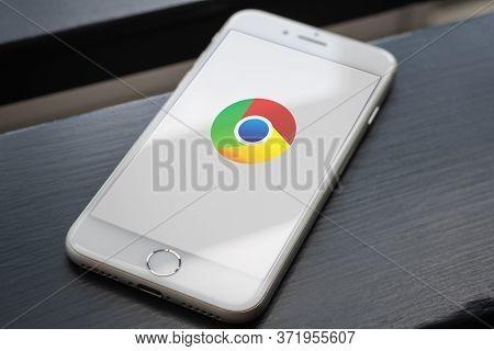 Guilherand-granges, France - June 16, 2020. Smartphone With Google Chrome Logo. Cross-platform Web B