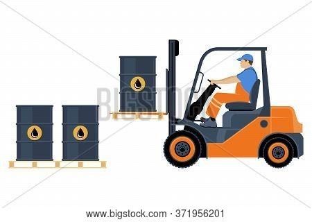 Transportation Of Goods By Forklift. A Man On A Forklift Is Transporting Oil Barrels. Vector Illustr