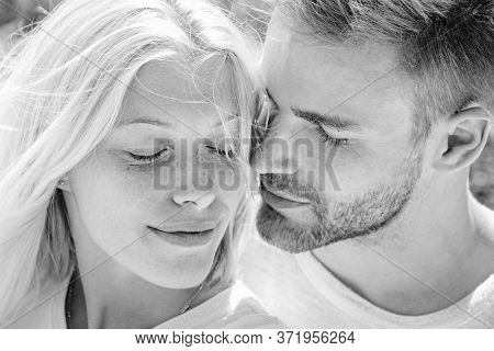 Enjoying Tender Warm Pleasant Moment Of Love. Couple In Love. Touching Body Ecstasy And Pleasure. In