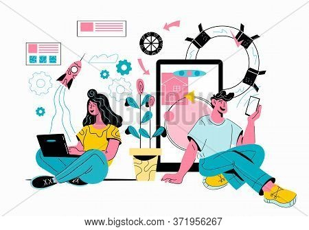 Sharing Data And Mobile Technology Concept Vector Of People Using Gadgets.
