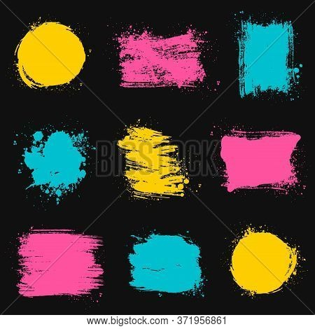 Paint Brush Stains, Strokes, Splatters And Blots Of Different Shapes And Colors For Frame, Banner, L