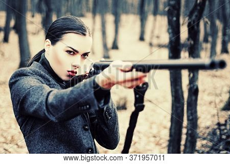 Hunting Weapon Gun Or Rifle. Military Fashion. Achievements Of Goals. Girl With Rifle. Chase Hunting