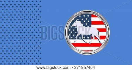Democrats Symbol Donkey, National Flag Icon - Vector. Presidential Election In The United States Of