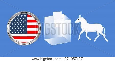Ballot Box, Donkey Symbol Of Democrats, National Flag Icon - Vector. Presidential Election In The Un