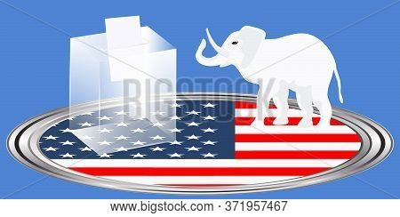 Ballot Box, Republican Symbol Elephant Stands On National Flag - Vector. Presidential Election In Th