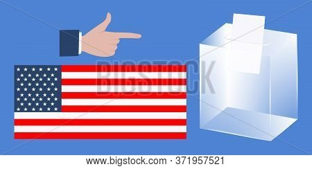 Ballot Box, Male Hand Points A Finger, National Flag - Vector. Presidential Election In The United S