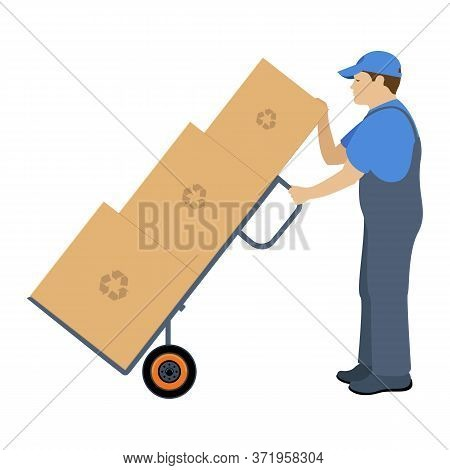 Man Delivering Pushing A Wheelbarrow And Transports Cargo. Vector Illustration Isolated On White Bac