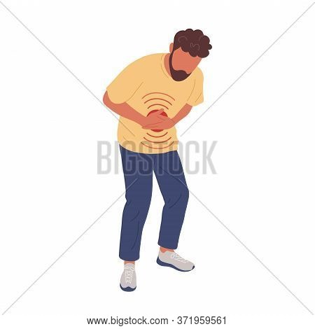 Sick Man With Stomachache Touching Belly. Flat Trendy Hand Drawn Character Vector Illustration. Isol