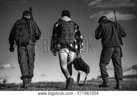 Hunters With Shotgun Gun On Hunt. Hunting In Russia