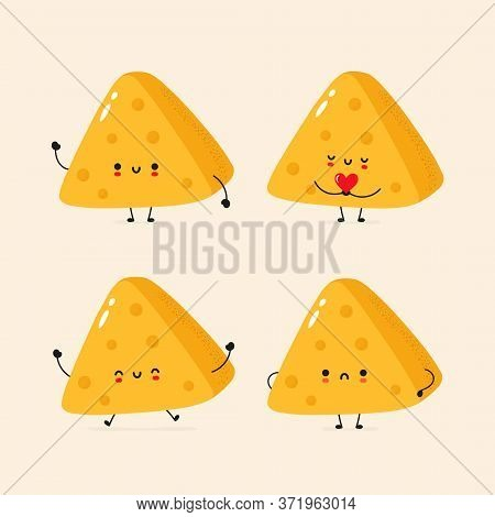 Cute Smiling Cheese Collection. Trendy Hand Drawn Inllustration Vector Flat Characters. Cheese Chunk