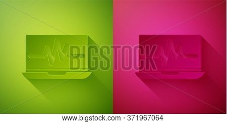 Paper Cut Laptop With Cardiogram Icon Isolated On Green And Pink Background. Monitoring Icon. Ecg Mo