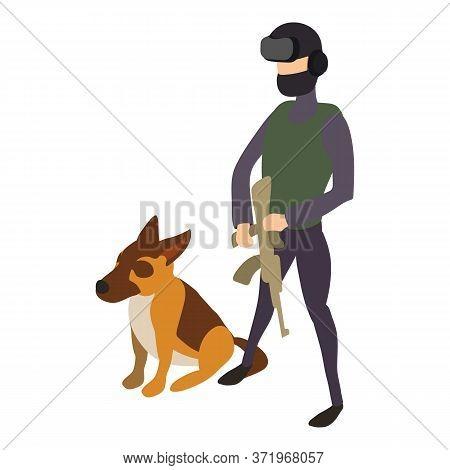 Police Cynologist Dog Icon. Isometric Of Police Cynologist Dog Vector Icon For Web Design Isolated O
