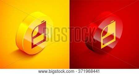 Isometric Canister For Motor Machine Oil Icon Isolated On Orange And Red Background. Oil Gallon. Oil