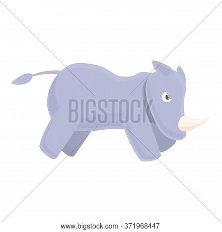 Aggressive Rhino Icon. Cartoon Of Aggressive Rhinovector Icon For Web Design Isolated On White Backg