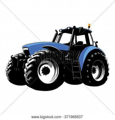 Blue Tractor. Farm Machine. Agricultural Machinery. Tractor On A White Background. Vector Stock Illu