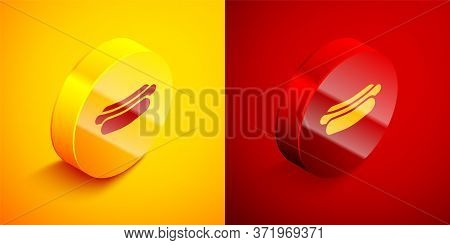 Isometric Hotdog Sandwich Icon Isolated On Orange And Red Background. Sausage Icon. Fast Food Sign.