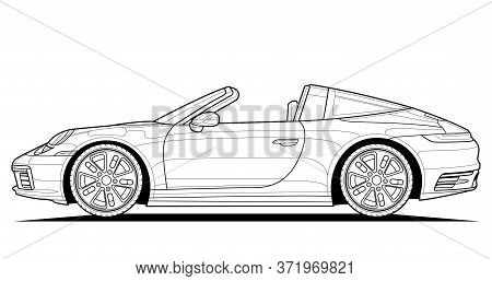 Coloring Pages For Adults Drawing. Line Art Picture. Car Cabriolet With Outlines. Vector Illustratio