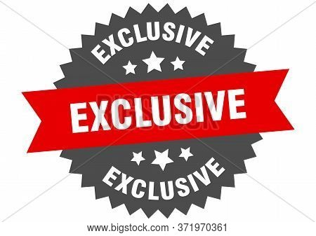 Exclusive Sign. Exclusive Red-black Circular Band Label
