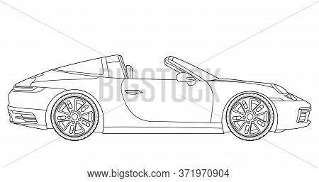 Line Art Vector Cabriolet Car, Concept Design. Vehicle Black Contour Outline Sketch Illustration Iso