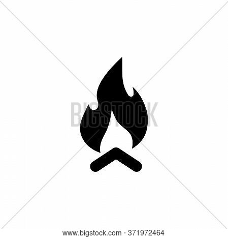 Wooden Camp Fire, Bonfire, Campfire. Flat Vector Icon Illustration. Simple Black Symbol On White Bac