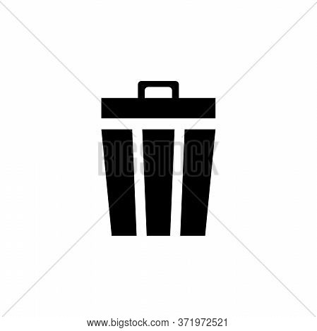 Trash Can, Disposal Waste, Recycle Bin. Flat Vector Icon Illustration. Simple Black Symbol On White
