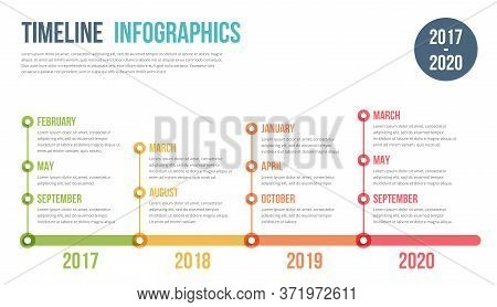 Horizontal Timeline Infographics Template, Workflow, Process Chart, Vector Eps10 Illustration