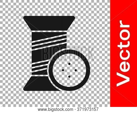 Black Sewing Thread On Spool And Button Icon Isolated On Transparent Background. Yarn Spool. Thread