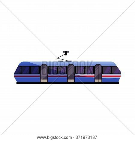Blue Tramway Illustration. Vehicle, City Transport. Transport Concept. Illustration Can Be Used For