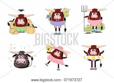 Bull Character, Cartoon Ox. Symbol Of 2021. Cute Ox Vector Illustration On A White Background. Anima