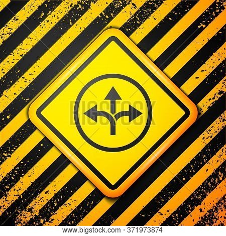 Black Road Traffic Sign. Signpost Icon Isolated On Yellow Background. Pointer Symbol. Isolated Stree