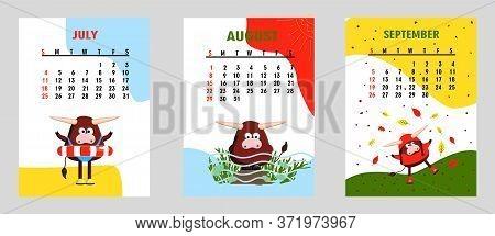 Bull, White Bull Calendar Or A4 Planner For 2021 With Cartoon Kawaii, Bull Or Cow, Week Starts On Su
