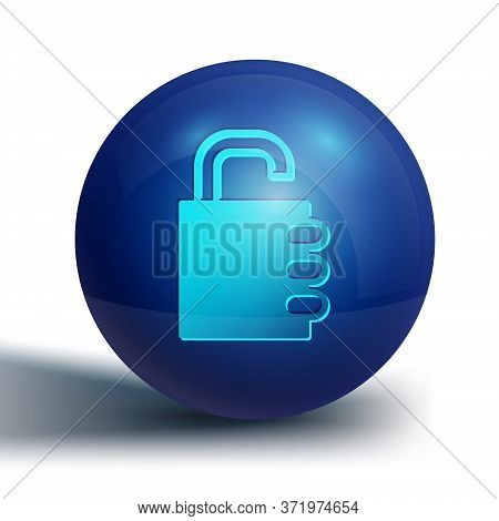 Blue Safe Combination Lock Icon Isolated On White Background. Combination Padlock. Security, Safety,