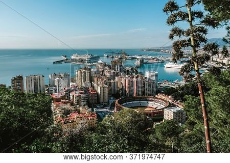 Malaga / Spain - October 2019: Unique Cityscape Of City Center. View From Famous Viewpoint. Overlook