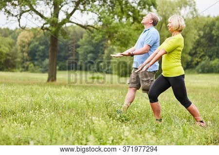 Senior couple in a wellness class doing a Qi Gong or Tai Chi exercise