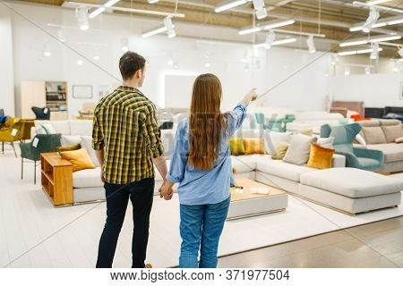Happy couple choosing furniture in store