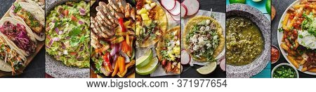 mexican food collage with tacos, carne asada fries and chicken fajitas in flat lay composition