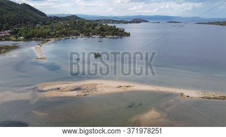 Mediterranean Greek Landscape Coastal Drone Shot. Aerial Day Top View Of Sithonia Chalkidiki Peninsu