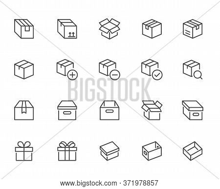 Box Line Icon Set. Carton, Cardboard Boxes, Product Package, Gift, Parcel Minimal Vector Illustratio