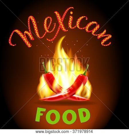 Red Hot Chili Peppers And Original Handwritten Text Mexican Food. Vector Illustration For Icon, Post