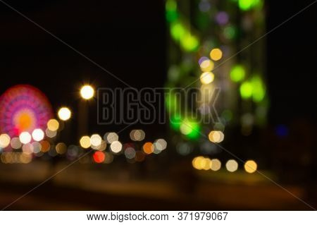 Abstract Night Lights Background. Night City Street Lights Colorful Bokeh Close Up, Darkness Concept