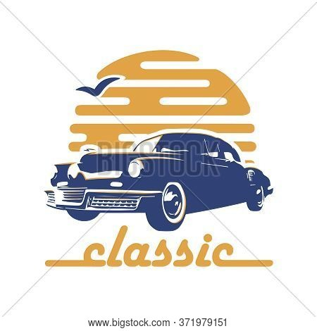 Car Old Retro Style Vintage Classic Stock Vector. Logo Design
