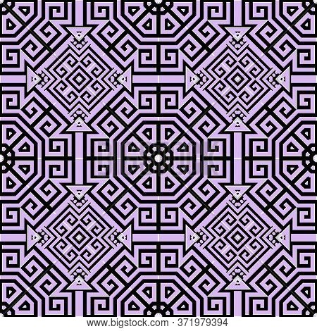 Lines Geometric Seamless Pattern. Greek Ornamental Light Violet Background. Repeat Tribal Ethnic Bac
