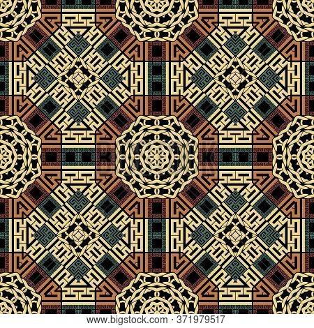 Geometric Seamless Pattern. Greek Ornamental Colorful Background. Repeat Tribal Ethnic Backdrop. Geo