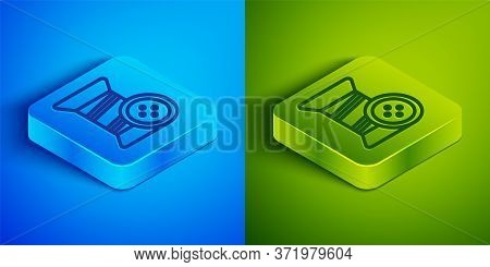 Isometric Line Sewing Thread On Spool And Button Icon Isolated On Blue And Green Background. Yarn Sp