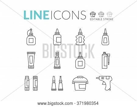 Glue Line Icon Set. Glue Silhouette Icon Isolated On Background. Flat Vector For Web And Mobile Appl