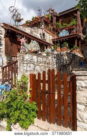 Lania, Cyprus - Aug 10.2019. Village At Foot Of The Troodos Mountain Famous For Traditional Winemaki
